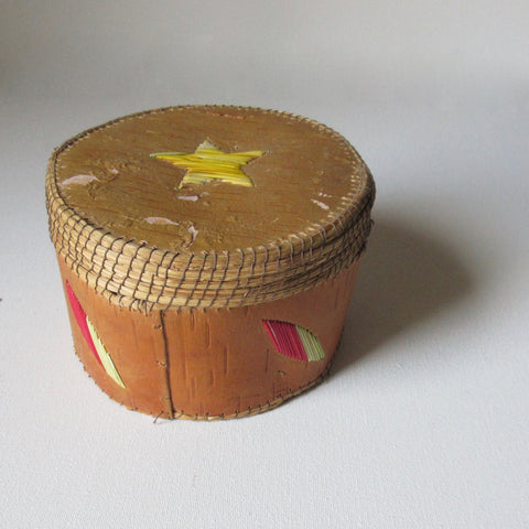 Canadian Birch Bark Porcupine Quill Details Lidded Box