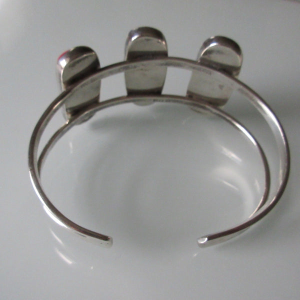 Vintage Sterling Silver & Coral Cobocons Cuff