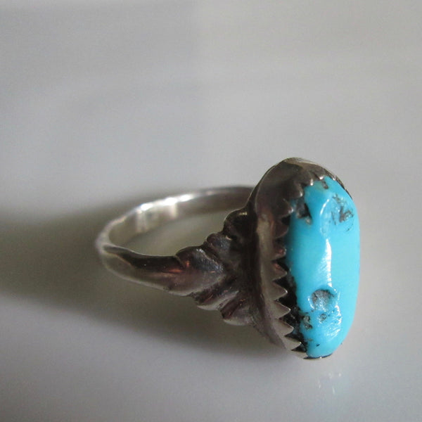 Navajo Old Pawn Sterling and Turquoise Ring