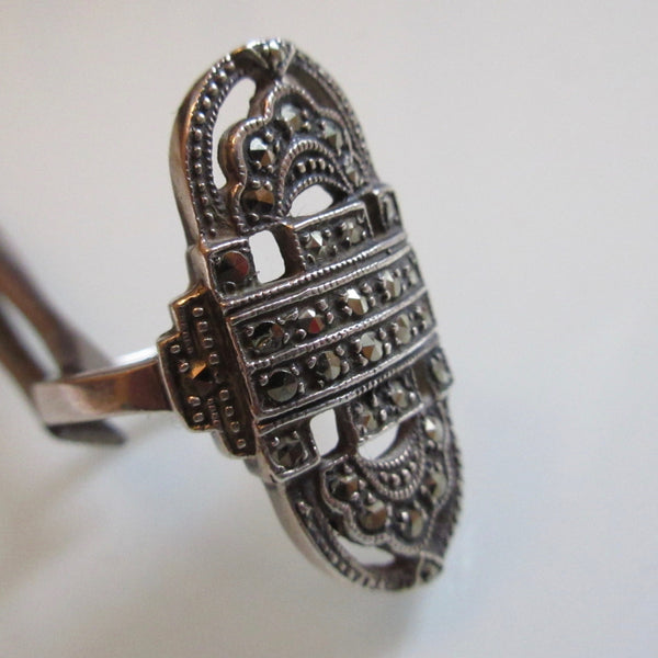 Vintage Marcasite  & Sterling Silver Ring