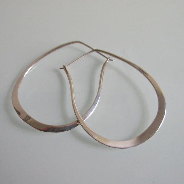 Contemporary Sterling Silver Hoop Earrings- Oblong