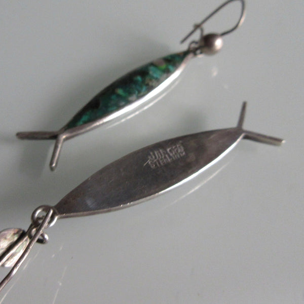 Vintage Turquoise Colour & Sterling Silver Fish Earrings