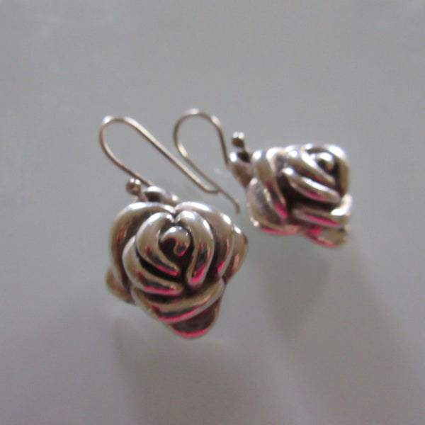 Sterling Silver Rose Dangle Earings