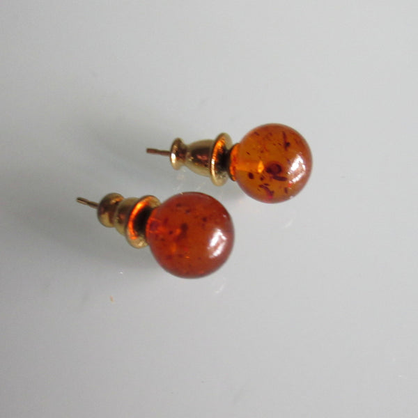 Vintage Napier Amber Stud Earrings