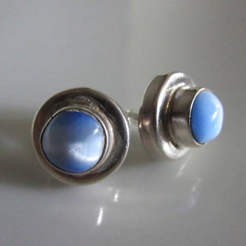 Sterling Silver & Moonstone Stud Earings