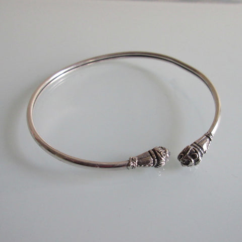 Sterling Silver Bangle Lion Heads