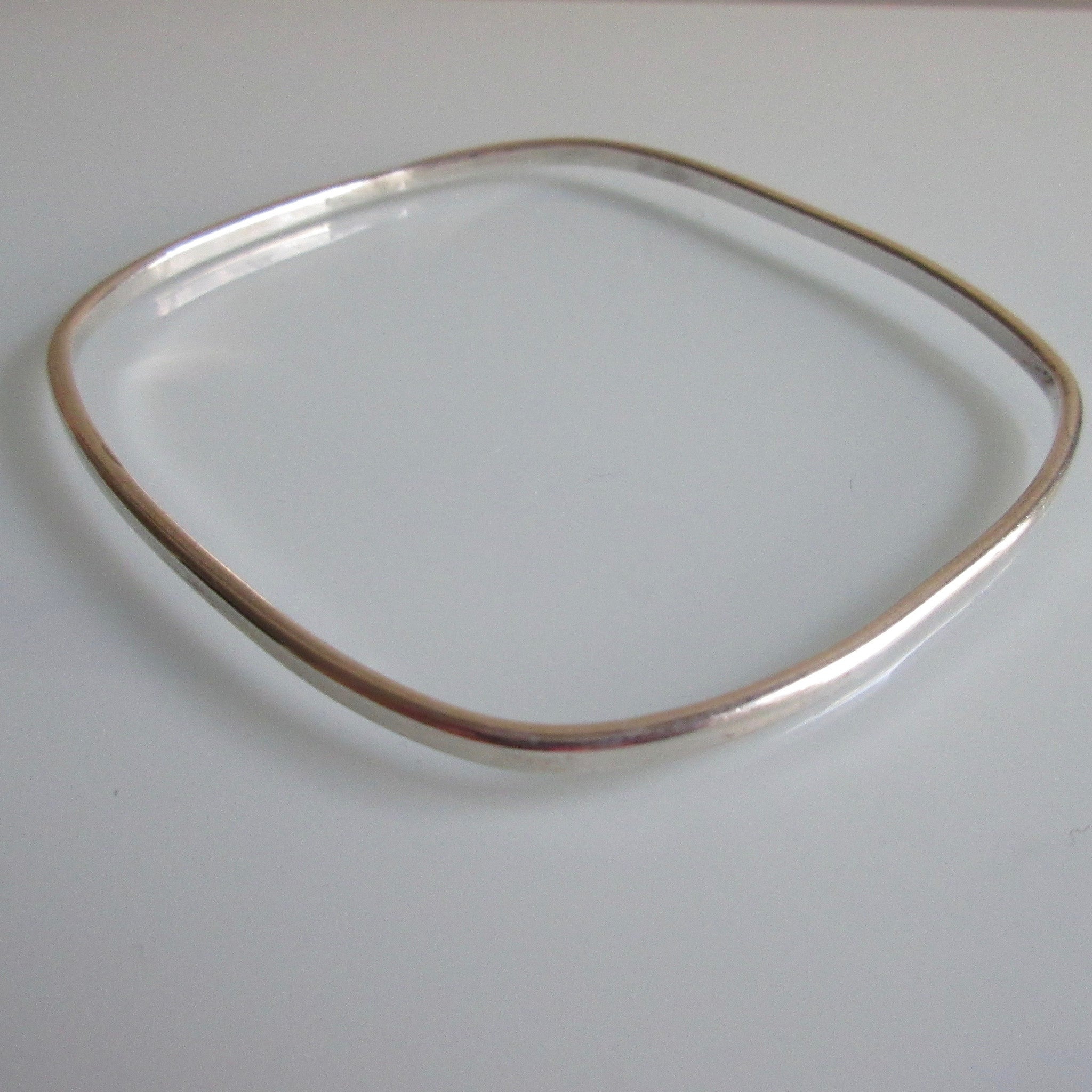 Vintage Sterling Silver Mexican Bangle Rectangular