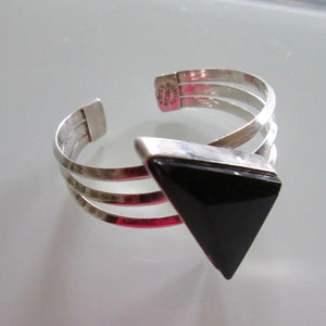 Vintage Sterling Silver & Onyx Cuff
