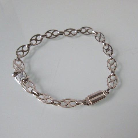 Vintage Sterling Silver Oval with Cross Bracelet