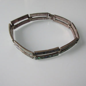 Vintage Mexican Sterling Silver & Mother of Pearl Bracelet