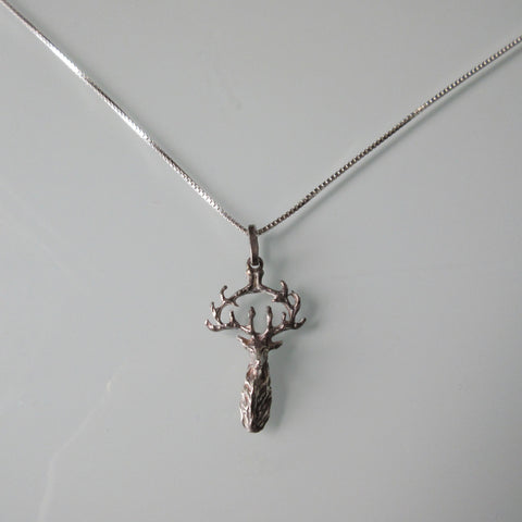 Sterling Silver Buck Pendant & New Box Chain Necklace
