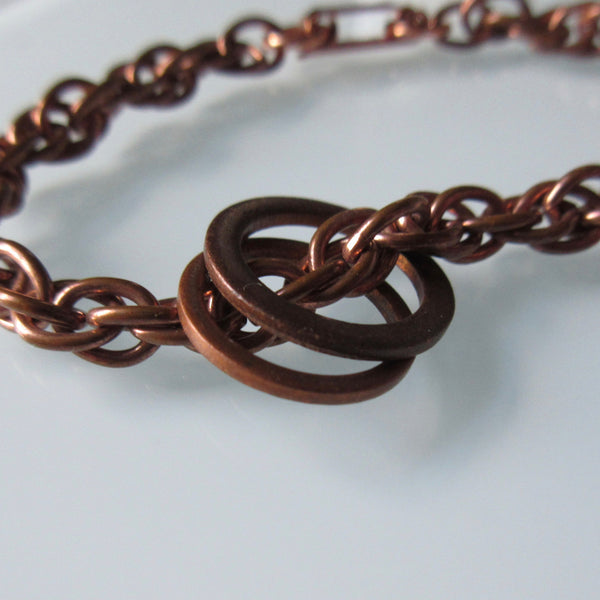 Vintage Copper LInk Bracklet with Rings