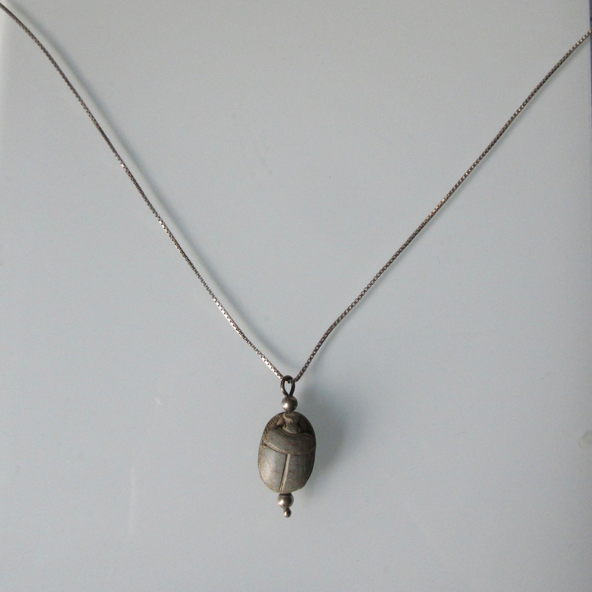 Vintage Scarab Pendant & Silver Chain