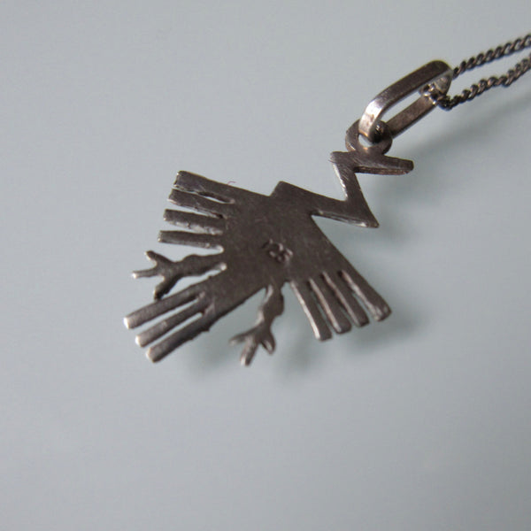Vintage Native American Sterling Silver Thunderbird Pendant & Chain