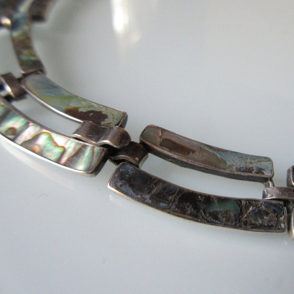 Vintage Mexican Taxco Sterling Silver & Abalone Necklace