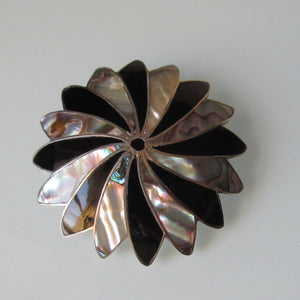 Vintage Mexican Sterling Silver Abalone & Onyx Brooch