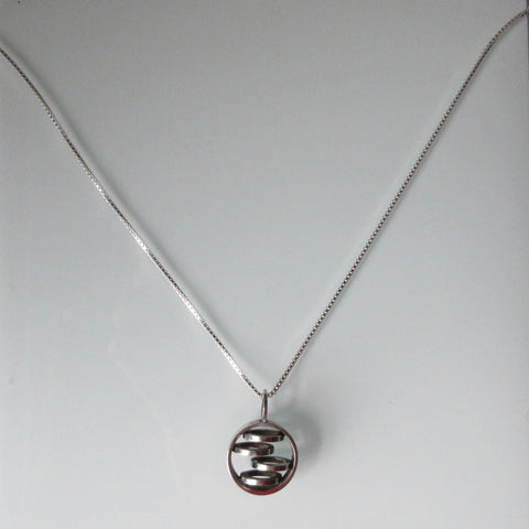MidCentury Modern Pendant & Sterling Silver Chain 20""
