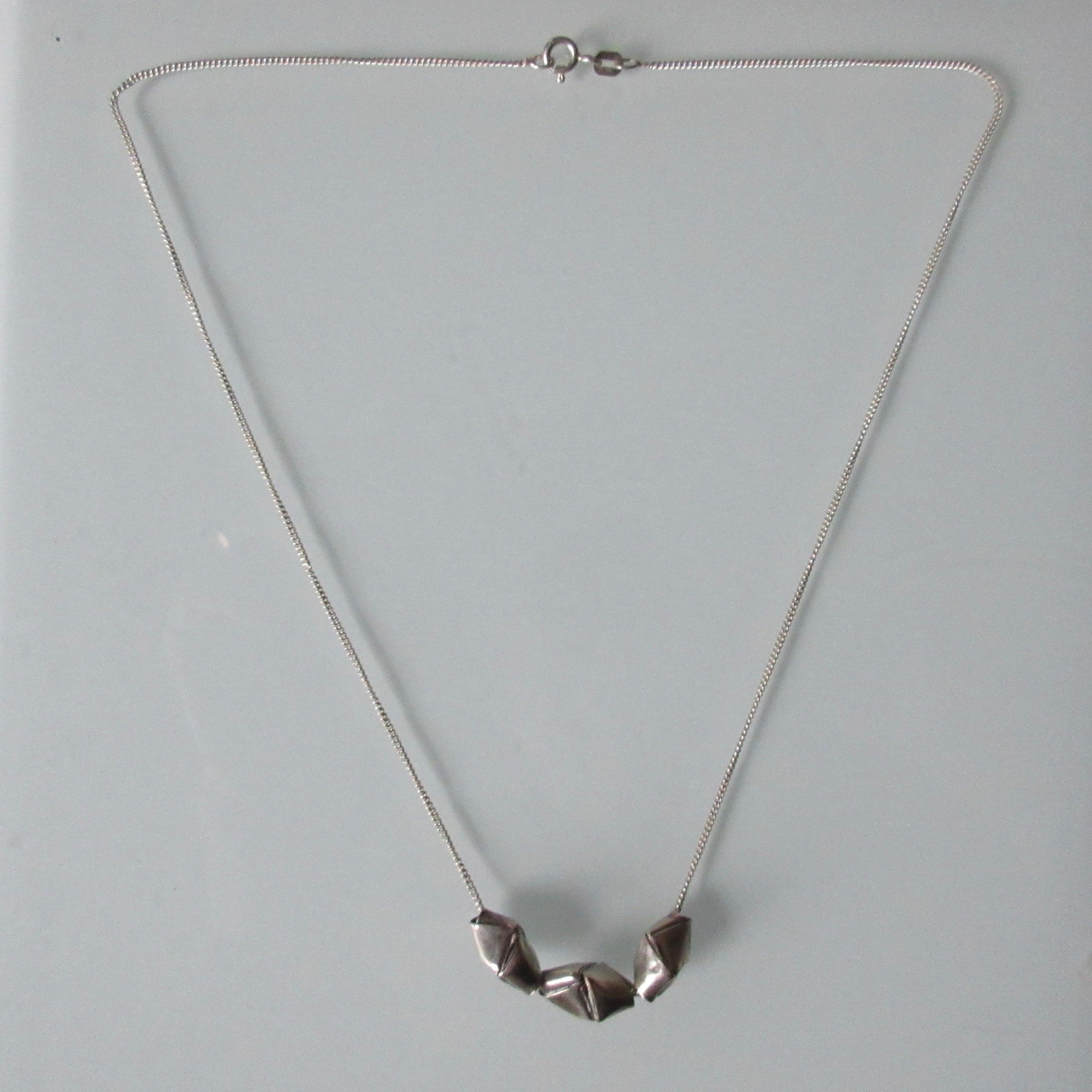 Origami Beads on Sterling Silver Chain 16""