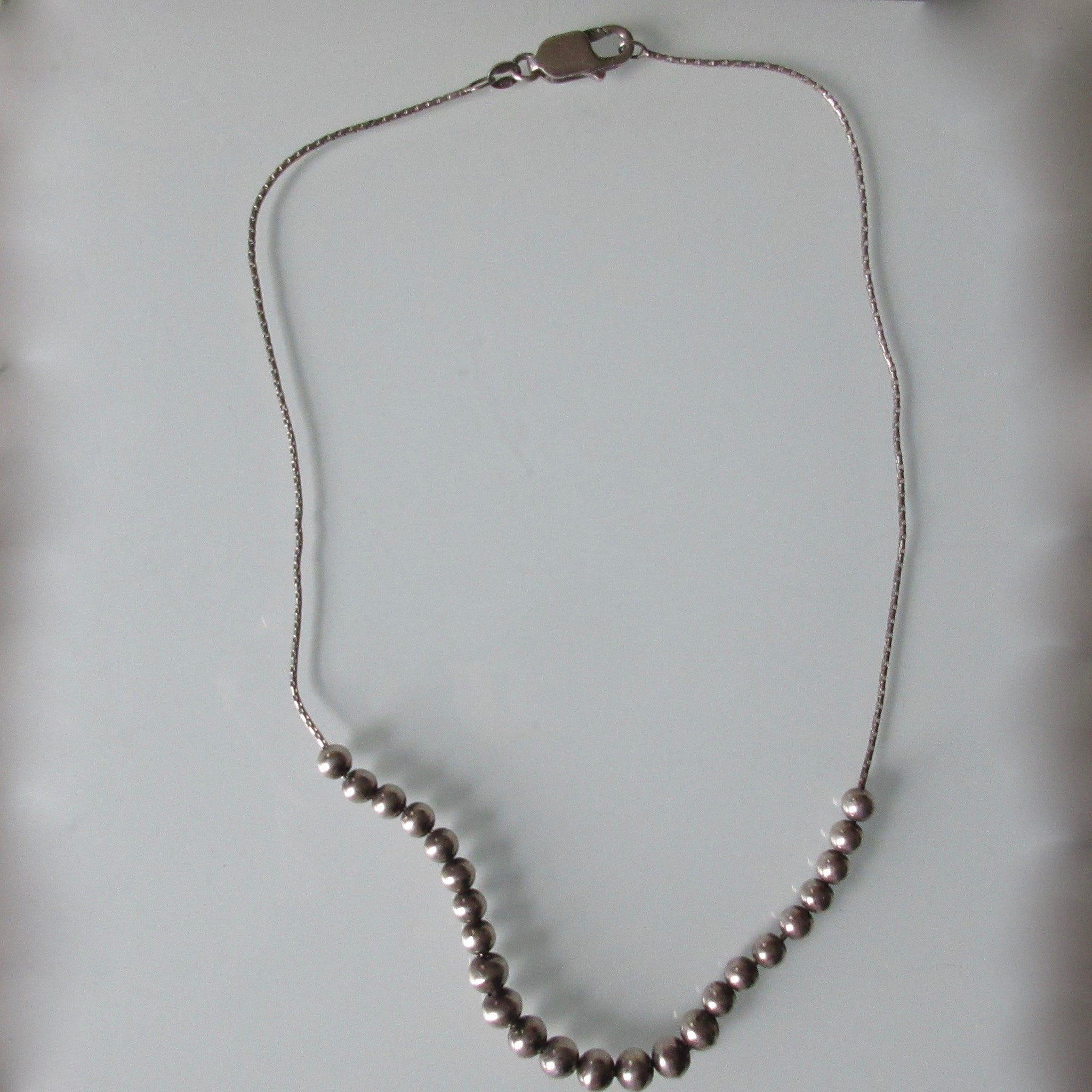 Silver Beads on Sterling Silver Chain 16""