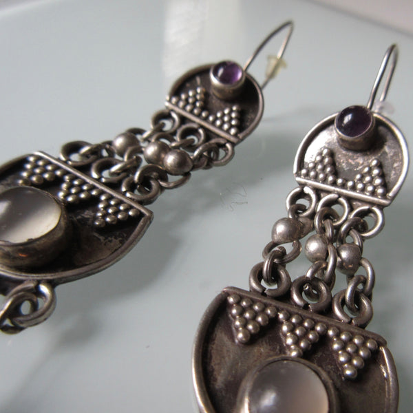 Tribal Boho Dangle Silver Earrings