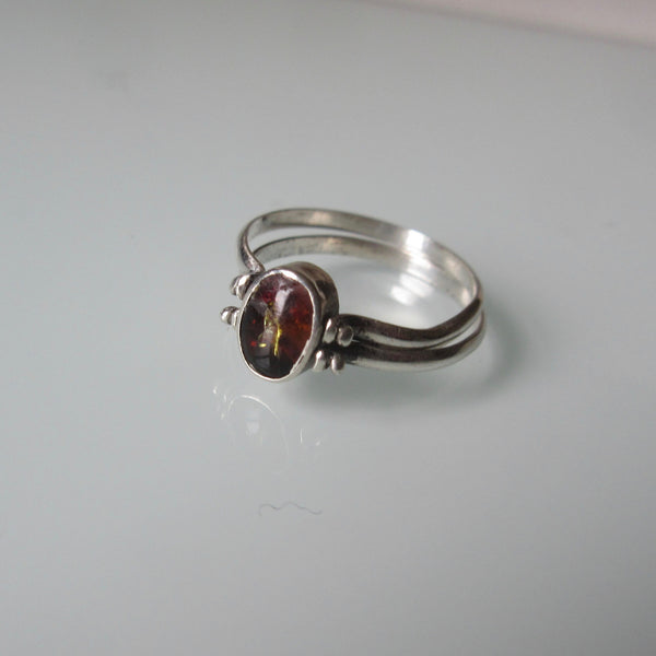 Vintage Sterling Silver Reversible Flip Amber and Jade Ring