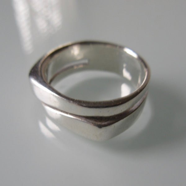 Contemporary Two Level Sterling Silver Ring