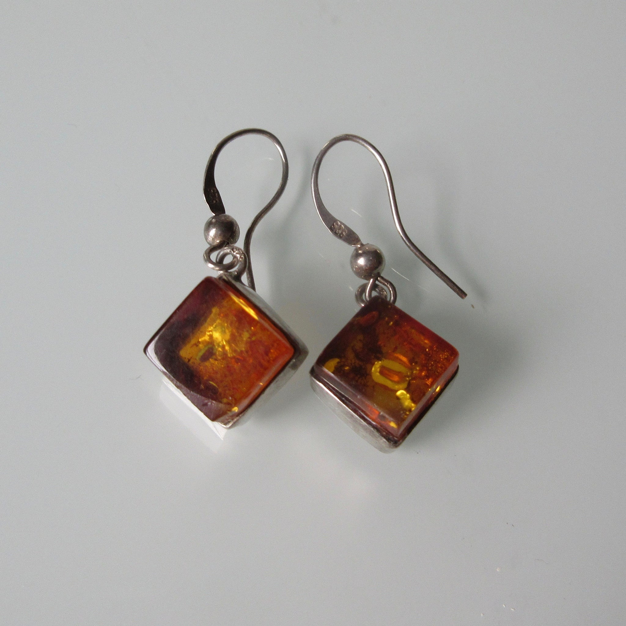 Amber Cube Sterling Silver Earrings