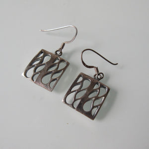 Open Square Sterling Silver Earrings