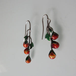 Strawberry Enamel Sterling Silver Earrings