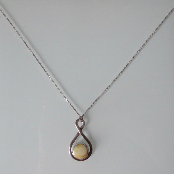 Mother of Pearl Pendant on Sterling Silver Chain 17""