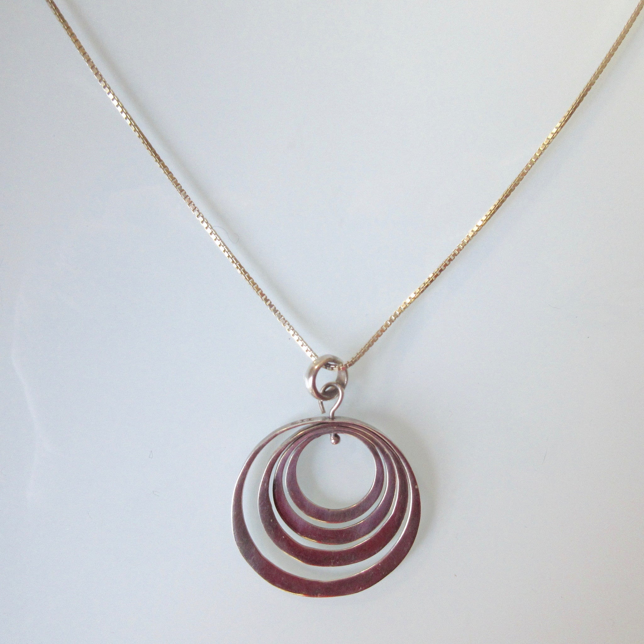 Circles Set Pendant on Sterling Silver Chain 19""