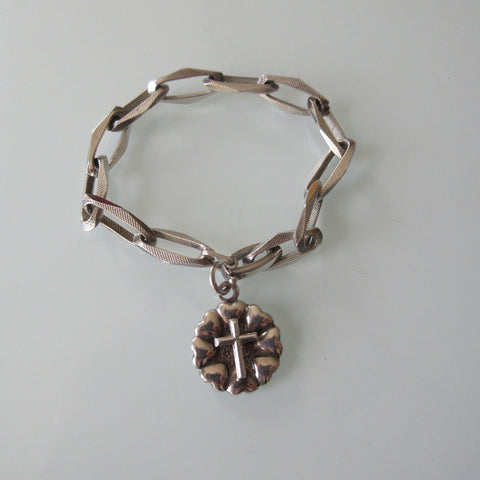 Vintage Textured Link Sterling Silver Bracelet With Cross Charm