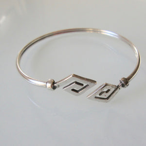 Sterling Silver Open Bangle Triangle Motif