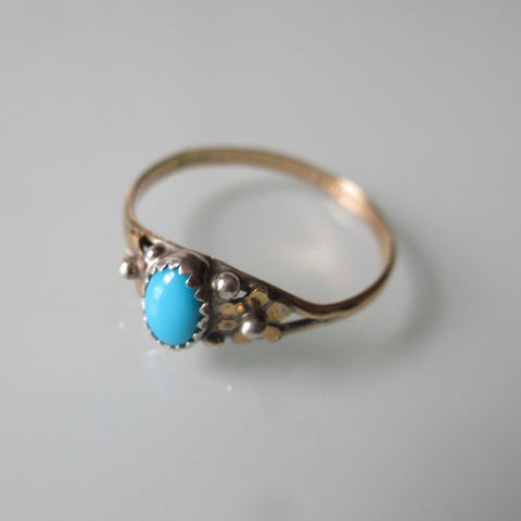 Virginia Becenti Turquoise Gold and Sterling Silver Ring