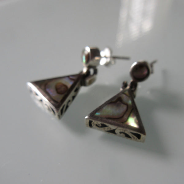 Mother of Pearl Triangle Sterling Silver Earrings