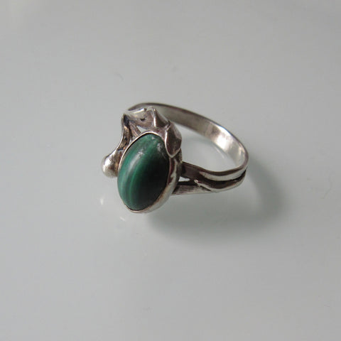 Art Nouveau Sterling Silver & Malichite Ring