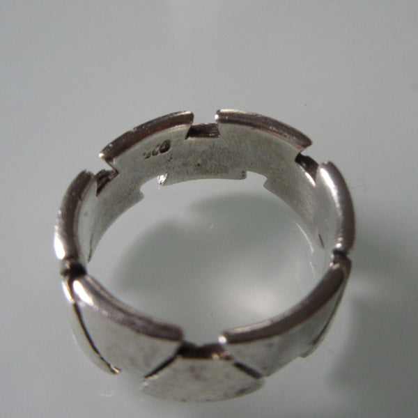 Geometric Sterling Silver Band Ring