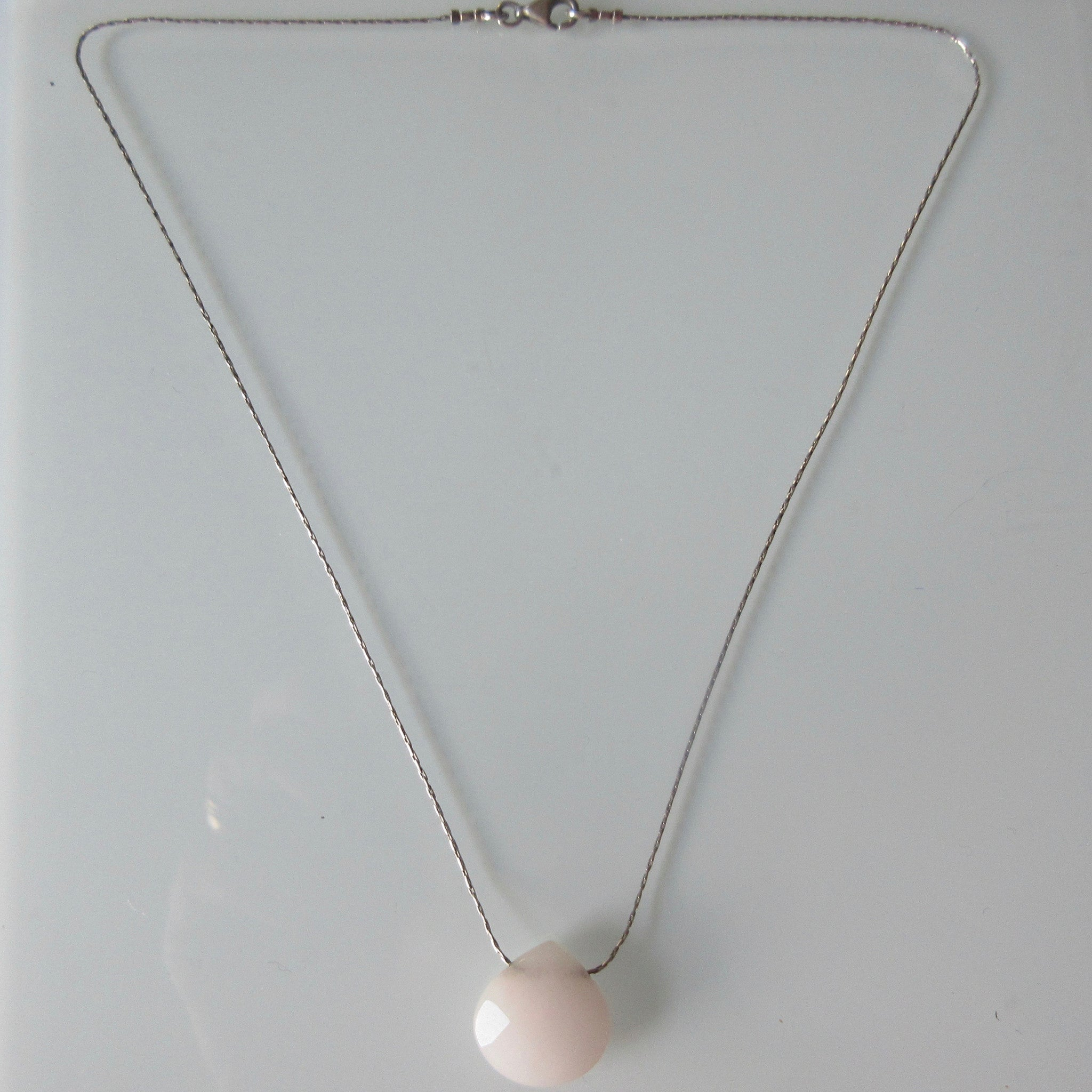 Pink Cut Crystal Tear Drop Pendant on Sterling Silver Chain