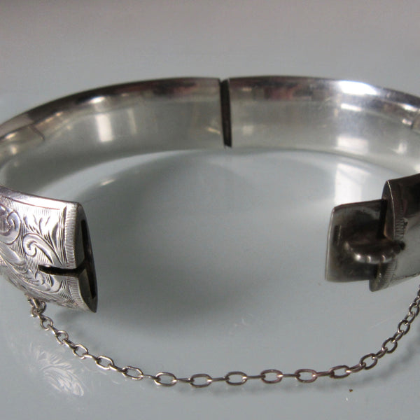 Etched Sterling Silver Hinged Bangle Cuff Birks