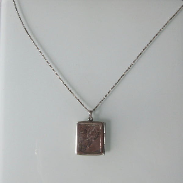 Edwardian Silver Envelope Locket on Sterling Silver  Chain British
