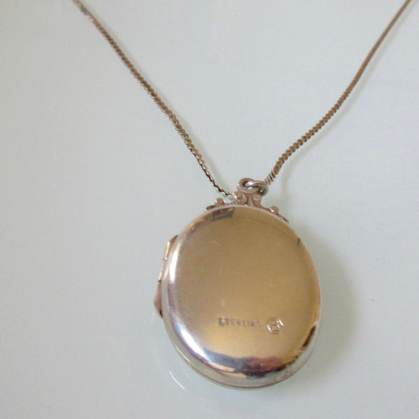 Birks Etched Sterling Silver Oval Locket and Chain