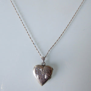 Etched Sterling Silver Heart Locket and Chain