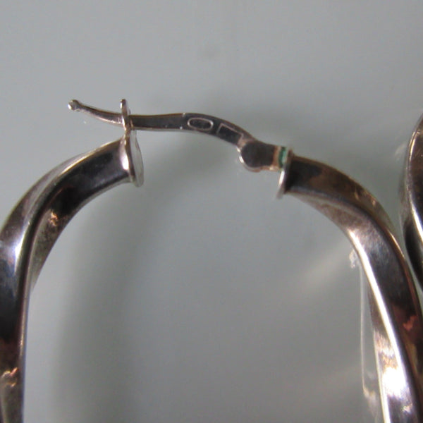 Oval Swirl Sterling Silver Hoop Earrings