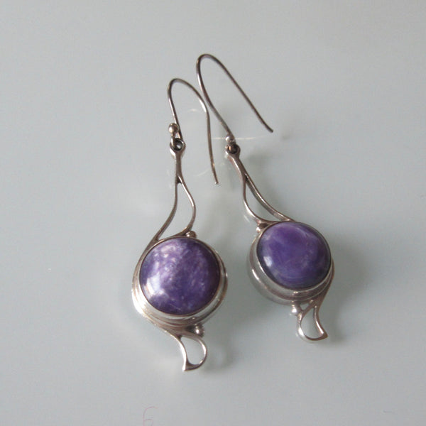 Art Nouveau style Silver Dangle Earrings Charoite