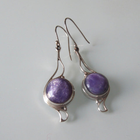 Art Nouveau style Dangle Sterling Silver Earrings Charoite