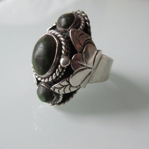 Vintage Sterling Silver Poison Ring Green Turquoise Taxco Mexican