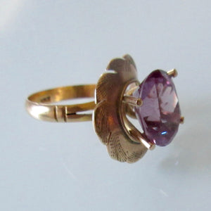 Gold & Pink Sapphire Colour Oval Cut Ring