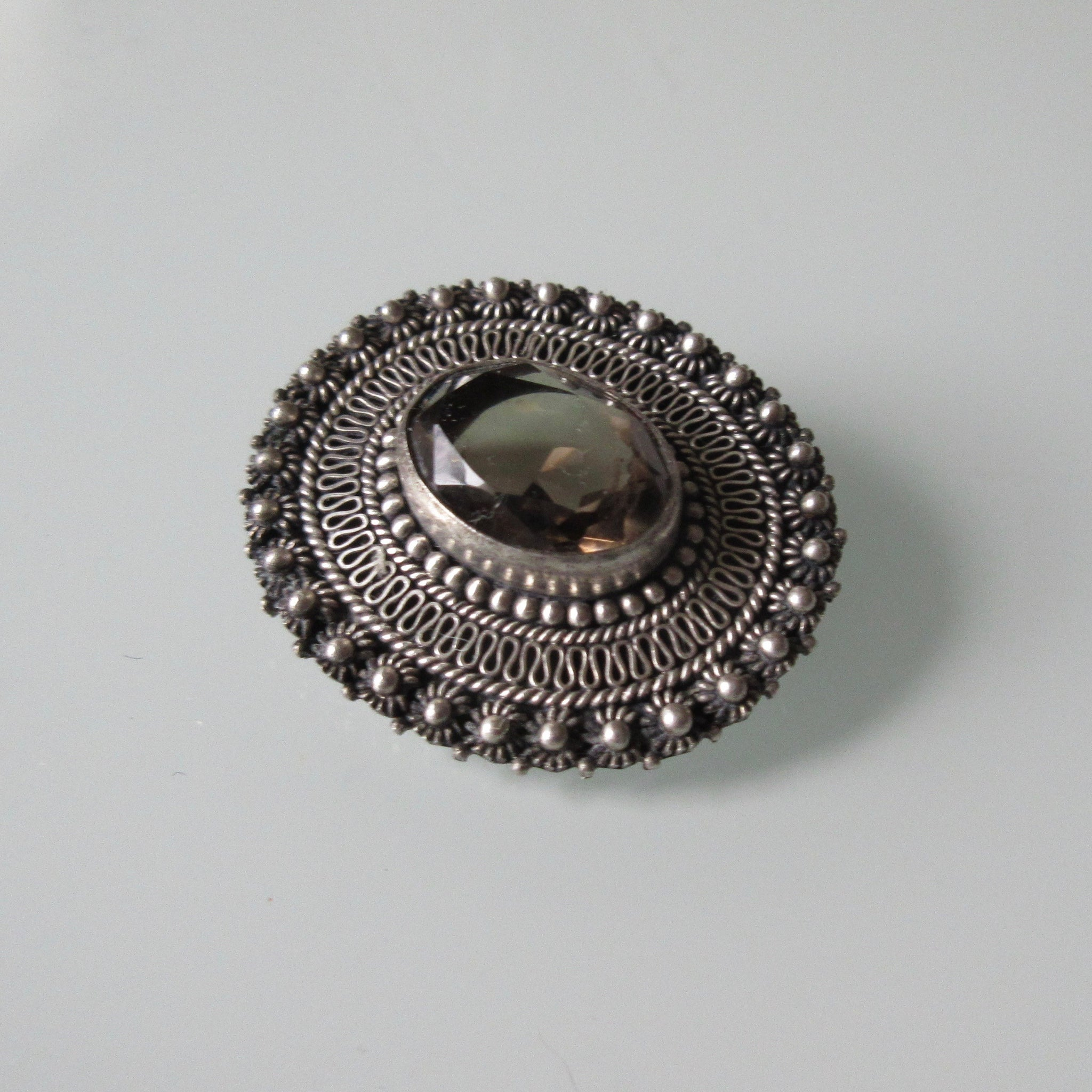 Vintage Faceted Smokey Quartz Filgree Sterling Silver Brooch or Pendant
