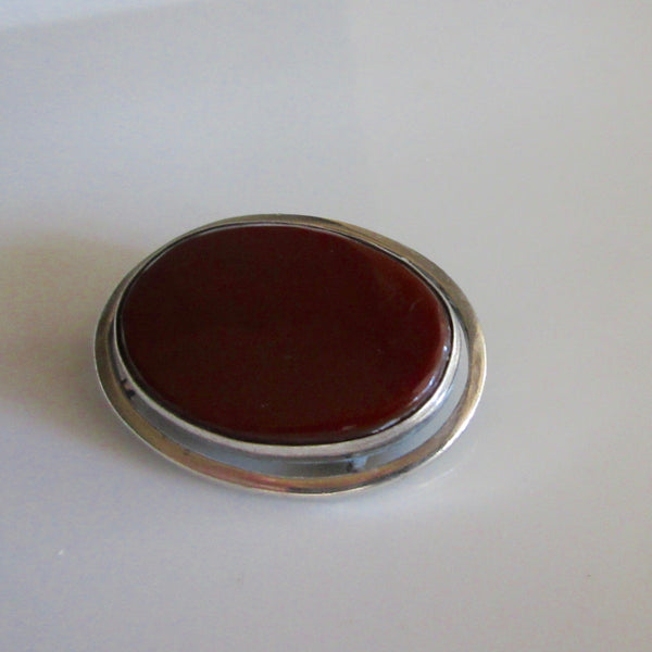 Modernist Red Jasper and Silver Brooch with Optional Pendant Israel
