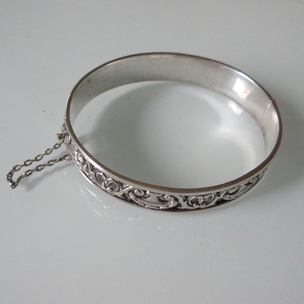 Portuguese Classic Revival Sterling Silver Hinged Repoussé  Bangle by Topazil